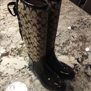 COACH Tristee Tan Corset Rain Boots Sz 6